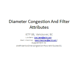 Diameter Congestion And Filter Attributes