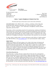 News Release For Immediate Release For more information contact: Tim R