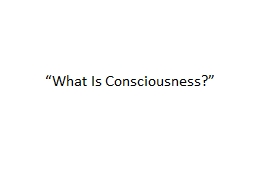 """""""What Is Consciousness?"""""""