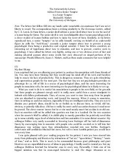 The Anticreativity Letters: to a Junior Tempter The letters that follo