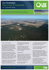 This information sheet provides details about Linc Energy's coal,