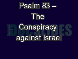 Psalm 83 – The Conspiracy against Israel