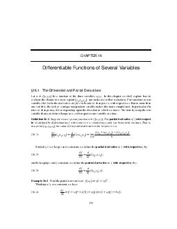 CHAPTER  Differentiable Functions of Several Variables
