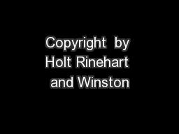 Copyright  by Holt Rinehart and Winston