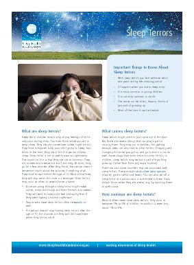 How does it affect people?Sleep terrors can wake you up suddenly. You