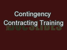 Contingency Contracting Training