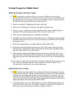 Writing Prompts for Middle School Middle School ExpositoryInformative Prompts