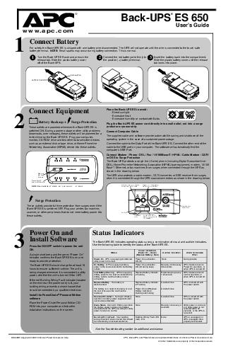 BackUPS ES  Users Guide Connect Battery Equipment Power On and Install Software  Copyright   American Power Conversion Corp