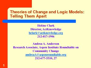 Theories of Change and Logic Models: