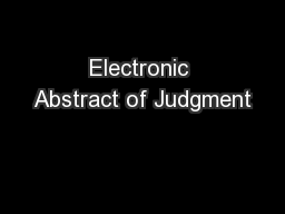 Electronic Abstract of Judgment PowerPoint PPT Presentation