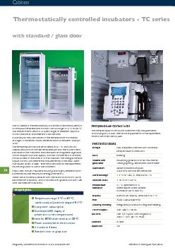 Thermostatically controlled incubators - TC serieswith standard / glas