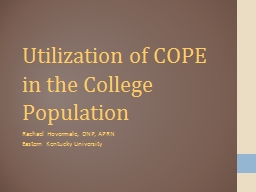 Utilization of COPE in the College Population