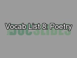 Vocab List 8: Poetry