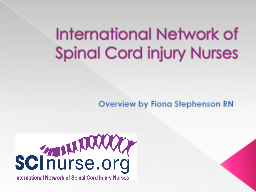 International Network of Spinal Cord injury Nurses PowerPoint PPT Presentation