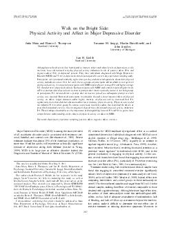 Walk on the Bright Side Physical Activity and Affect in Major Depressive Disorde