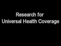 Research for Universal Health Coverage