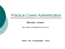 Practical Covert Authentication