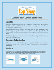 Custom Boat Covers Seattle Wa