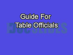 Guide For Table Officials
