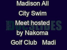 Madison All City Swim Meet hosted by Nakoma Golf Club   Madi