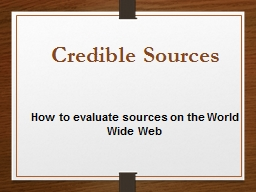 How to evaluate sources on the World Wide Web