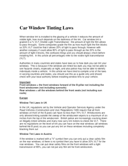 Car Window Tinting Laws