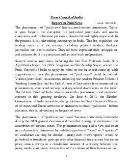 Press Council of India Report on Paid News Dated  The phenomenon of paid news has acquired serious dimensions PowerPoint PPT Presentation