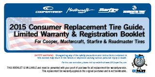 2015 Consumer Replacement Tire Guide, Limited Warranty & Registration