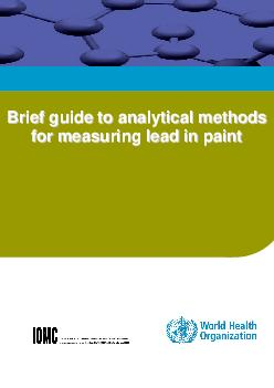 WHO Library CataloguinginPublication Data Brief guide to analytical methods for measuring lead in paint
