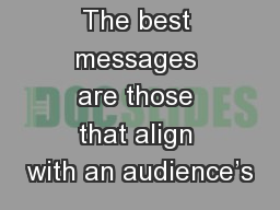 The best messages are those that align with an audience's