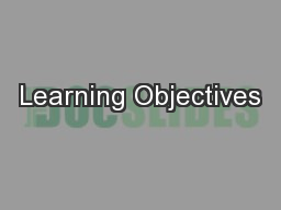 Learning Objectives PowerPoint PPT Presentation