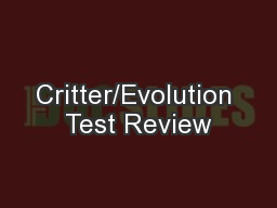 Critter/Evolution Test Review