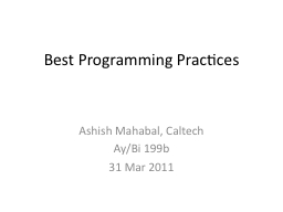 Best Programming Practices