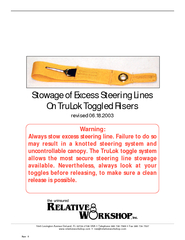 STOWAGE OF EXCESS STEERING LINES ON TRULOK TOGGLED RISERS