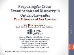 Preparing for Cross-Examination and Discovery in Ontario La