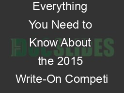 Everything You Need to Know About the 2015 Write-On Competi