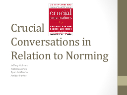 Crucial Conversations in Relation to Norming