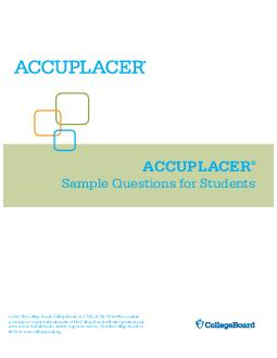 ACCUPLACER Sample Questions for Students   e College Board
