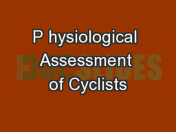 P hysiological Assessment of Cyclists