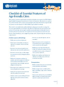 PAGE Checklist of Essential Features of Agefriendly Cities is checklist of essen