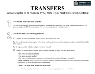 You are eligible to be reviewed by SF St