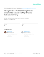 TRANSGRESSION SEVERITYAND FORGIVENESS:DIFFERENT MODERATORS FOR OBJECTI