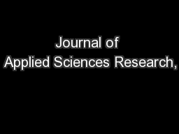 Journal of Applied Sciences Research,