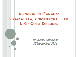 Abortion In Canada: