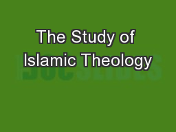 The Study of Islamic Theology