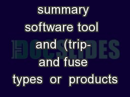 Brief summary software tool  and  (trip- and fuse types  or  products PowerPoint PPT Presentation