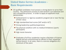 United States Service Academies – PowerPoint PPT Presentation