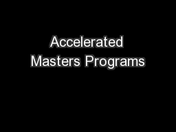 Accelerated Masters Programs