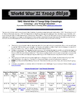 1942 World War II Troop Ship Crossings Crossings - July Through Decemb