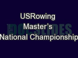 USRowing Master's National Championship